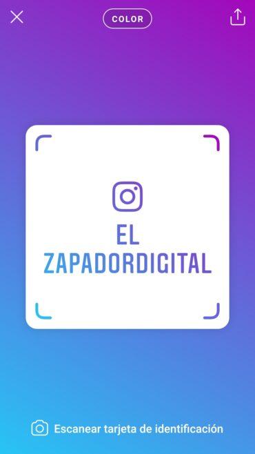 Tarjeta para compartir el perfil de instagram